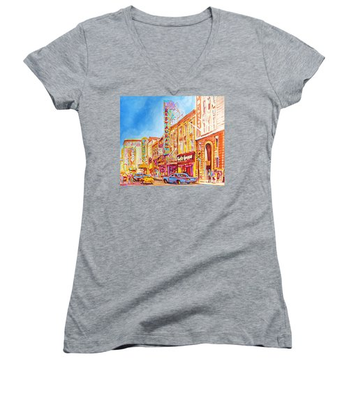 Women's V-Neck T-Shirt (Junior Cut) featuring the painting Saint Catherine Street Montreal by Carole Spandau