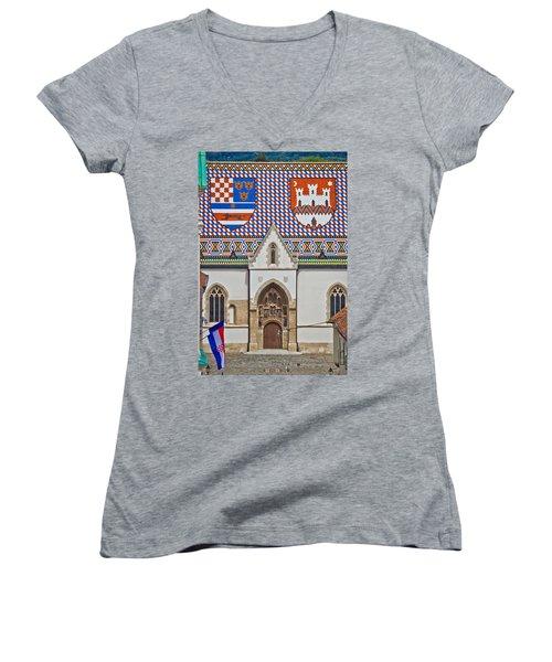Saint Mark Church Facade Vertical View Women's V-Neck T-Shirt
