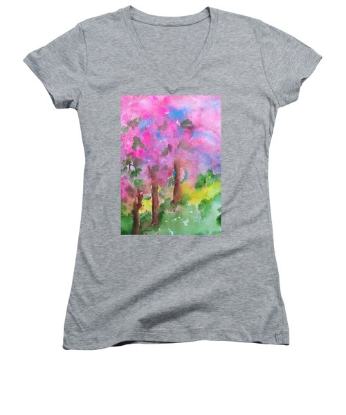 Sakura Women's V-Neck T-Shirt (Junior Cut) by Anna Ruzsan