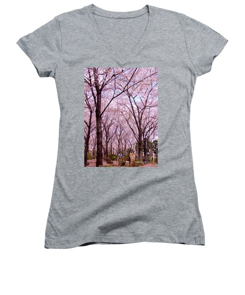 Women's V-Neck T-Shirt (Junior Cut) featuring the photograph Sakura Tree by Andrea Anderegg