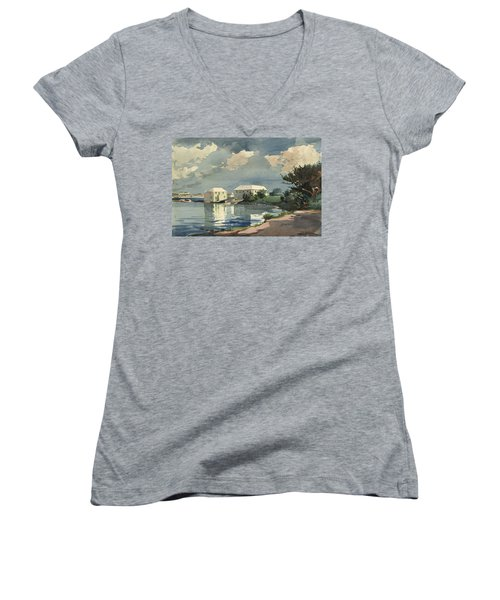 Salt Kettle Bermuda Women's V-Neck T-Shirt (Junior Cut) by Winslow Homer