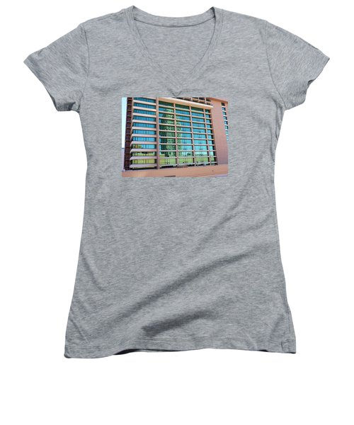 Women's V-Neck T-Shirt (Junior Cut) featuring the photograph Salt Lake City Architecture Reflection by Ely Arsha