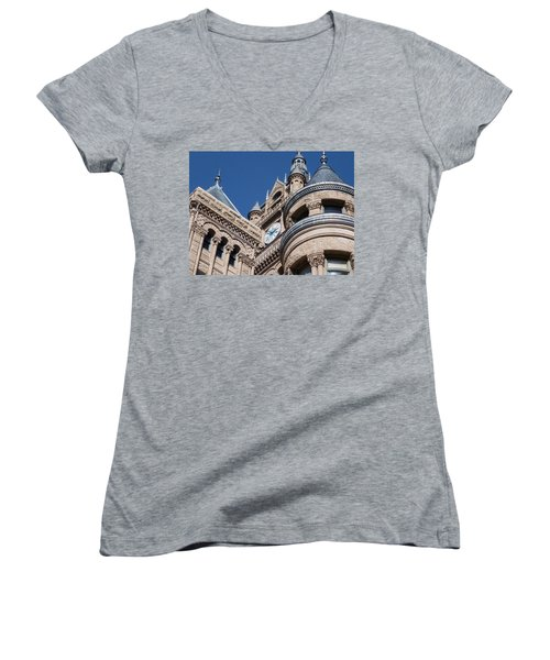 Women's V-Neck T-Shirt (Junior Cut) featuring the photograph Salt Lake City - City Hall - 1 by Ely Arsha