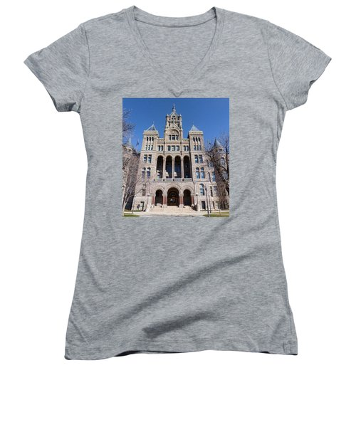 Women's V-Neck T-Shirt (Junior Cut) featuring the photograph Salt Lake City - City Hall - 2 by Ely Arsha