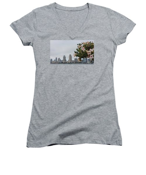 Women's V-Neck T-Shirt (Junior Cut) featuring the photograph San Diego From Coronado View by Jasna Gopic