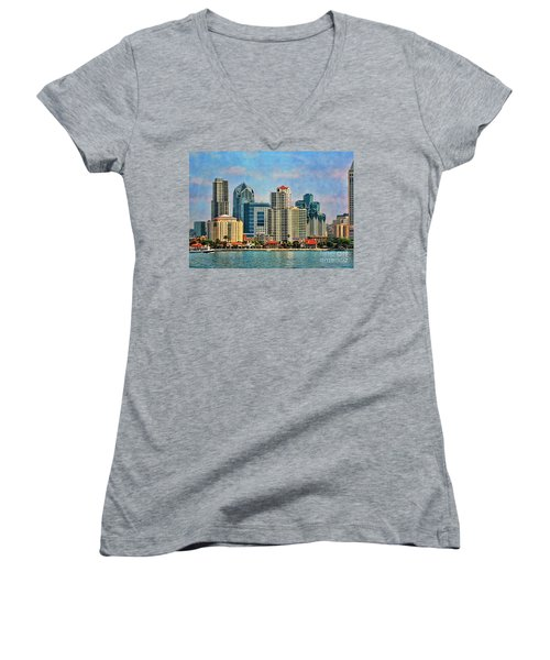 Women's V-Neck T-Shirt (Junior Cut) featuring the photograph San Diego Skyline by Peggy Hughes
