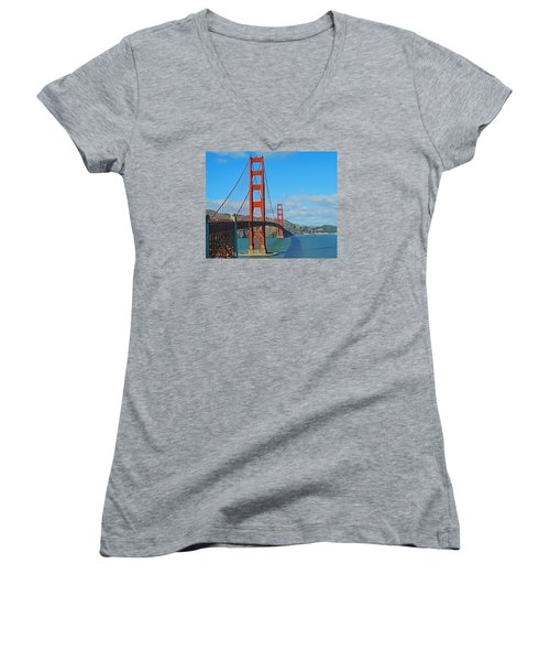 San Francisco's Golden Gate Bridge Women's V-Neck T-Shirt (Junior Cut) by Emmy Marie Vickers