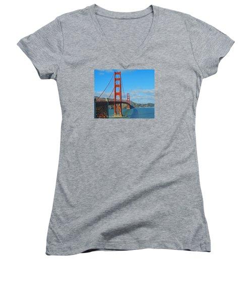 San Francisco's Golden Gate Bridge Women's V-Neck T-Shirt