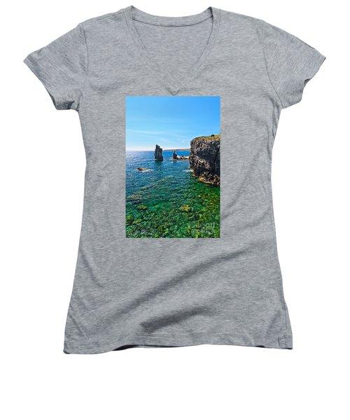 San Pietro Island - Le Colonne Women's V-Neck T-Shirt (Junior Cut) by Antonio Scarpi