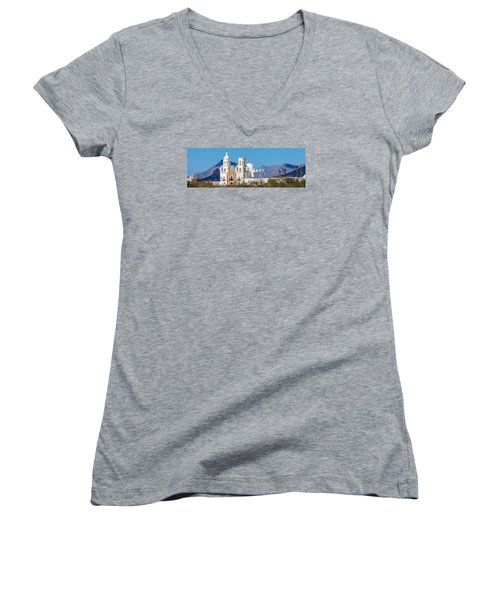 San Xavier Del Bac Mission Women's V-Neck T-Shirt (Junior Cut) by Ed Gleichman