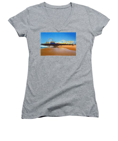 Sana Monica Pier Women's V-Neck T-Shirt (Junior Cut) by Daniel Thompson
