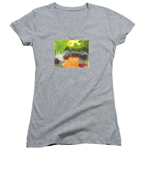 Women's V-Neck T-Shirt (Junior Cut) featuring the painting Sanctuary by Patricia Griffin Brett
