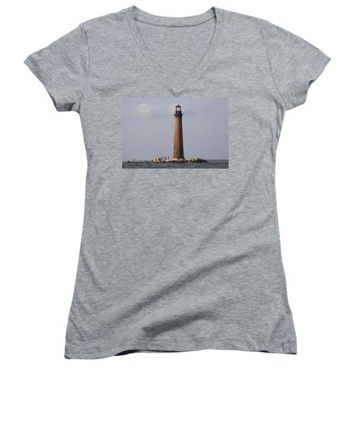Sand Island Lighthouse - Once 40 Acres Women's V-Neck T-Shirt (Junior Cut) by Travis Truelove