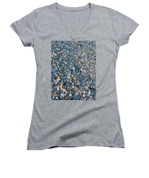 Women's V-Neck T-Shirt (Junior Cut) featuring the photograph Sand Key Shells by David Nicholls