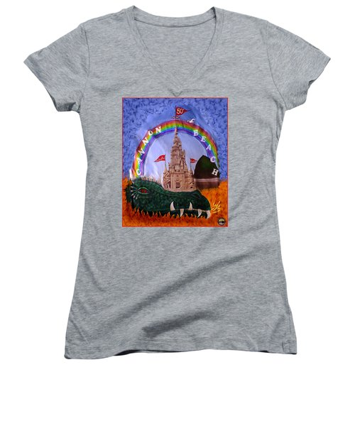 Women's V-Neck T-Shirt (Junior Cut) featuring the photograph Sandcastle Shirt by Wendy McKennon