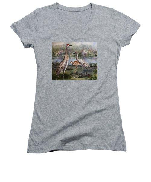 Sandhill Cranes On Alert Women's V-Neck T-Shirt (Junior Cut) by Roxanne Tobaison