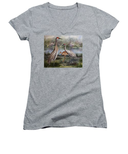 Sandhill Cranes On Alert Women's V-Neck T-Shirt