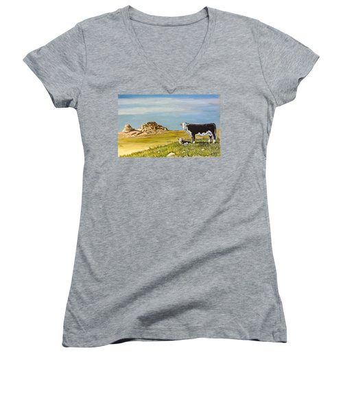 Sandhills Spring Women's V-Neck T-Shirt (Junior Cut) by Bern Miller