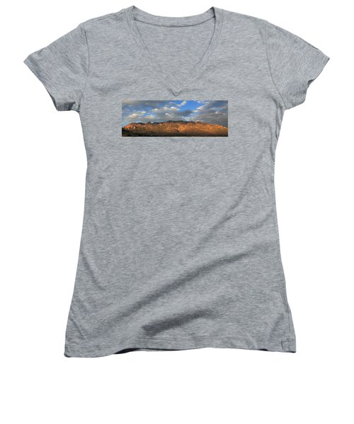 Sandia Crest At Sunset Women's V-Neck T-Shirt (Junior Cut) by Alan Vance Ley