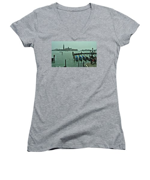 Women's V-Neck T-Shirt (Junior Cut) featuring the photograph Sanding By by Brian Reaves