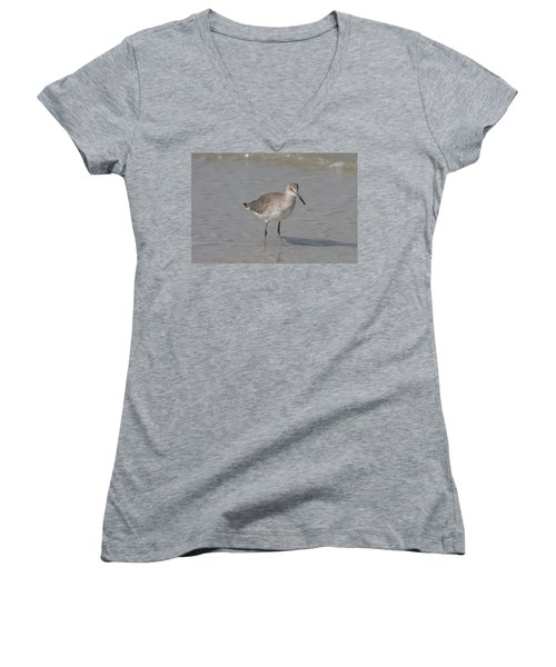 Women's V-Neck T-Shirt (Junior Cut) featuring the photograph Sandpiper by Christiane Schulze Art And Photography
