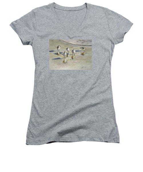Sandpipers 2 Watercolor 5-13-12 Julianne Felton Women's V-Neck T-Shirt