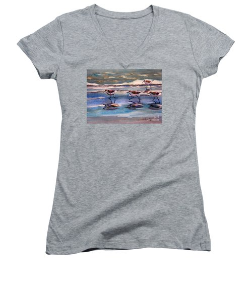 Sandpipers Running In Beach Shade 3-10-15 Women's V-Neck (Athletic Fit)