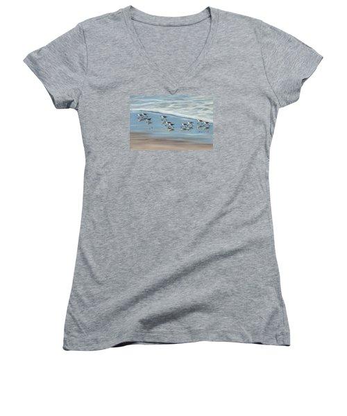 Sandpipers Women's V-Neck T-Shirt (Junior Cut) by Tina Obrien