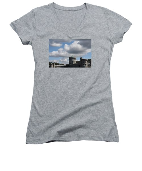 Women's V-Neck T-Shirt (Junior Cut) featuring the photograph Sands Point Castle by John Telfer