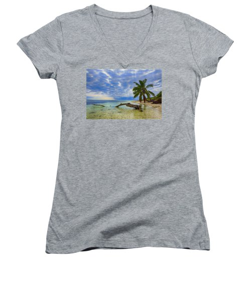 Sandspur Beach Women's V-Neck T-Shirt (Junior Cut) by Swank Photography