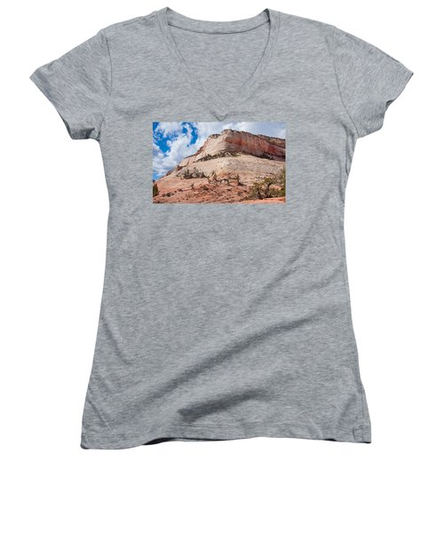 Women's V-Neck T-Shirt (Junior Cut) featuring the photograph Sandstone Mountain by John M Bailey
