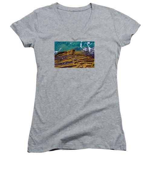 Sandstone Ribs Women's V-Neck T-Shirt (Junior Cut) by Adria Trail