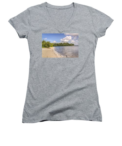 Women's V-Neck T-Shirt (Junior Cut) featuring the photograph Sandy Beach by Jane Luxton
