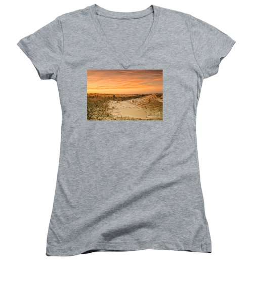 Sandy Road Leading To The Beach Women's V-Neck T-Shirt (Junior Cut) by Sabine Jacobs