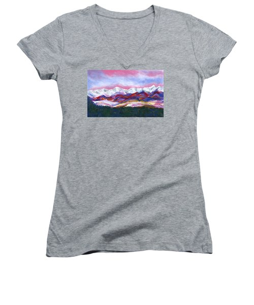 Women's V-Neck T-Shirt (Junior Cut) featuring the painting Sangre De Cristo Mountains by Stephen Anderson