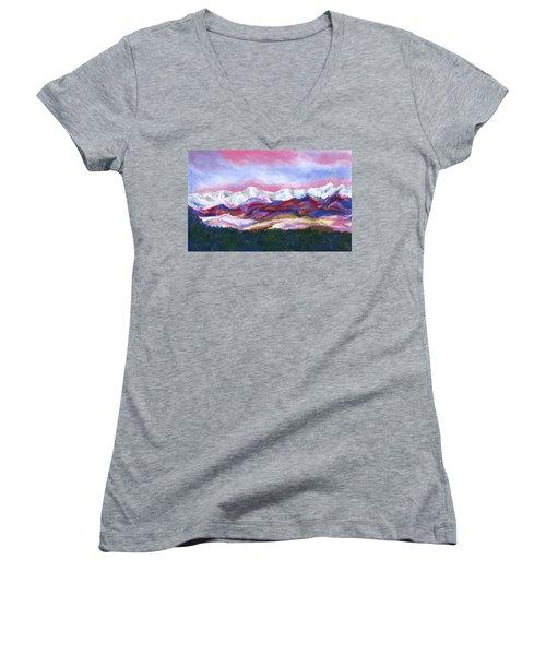 Sangre De Cristo Mountains Women's V-Neck T-Shirt (Junior Cut) by Stephen Anderson