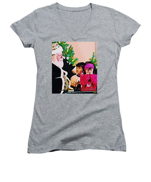 Santa And The Kids Women's V-Neck (Athletic Fit)