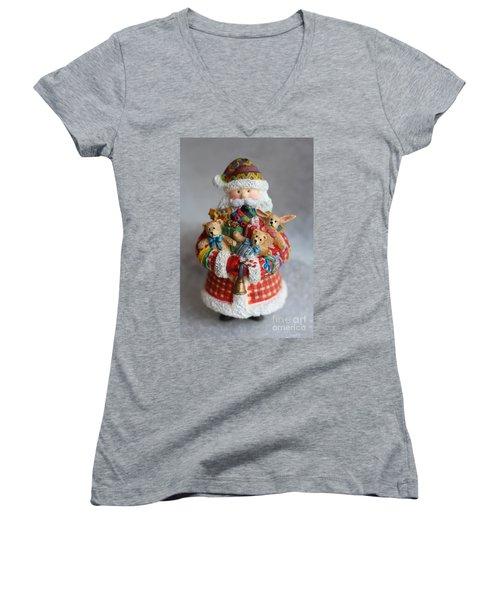 Santa Claus Women's V-Neck T-Shirt (Junior Cut)