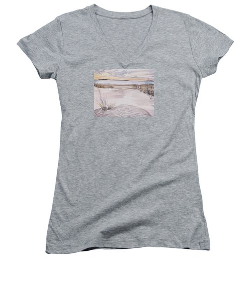 Santa Cruz Sunset Women's V-Neck T-Shirt (Junior Cut) by Ian Donley