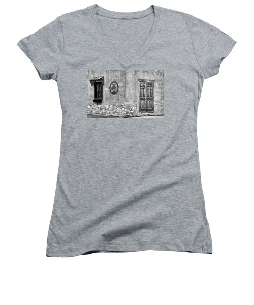 Women's V-Neck T-Shirt (Junior Cut) featuring the photograph Santa Fe New Mexico Street Corner by Ron White