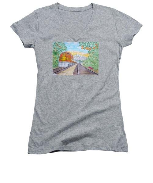Santa Fe Super Chief Train Women's V-Neck T-Shirt (Junior Cut) by Kathy Marrs Chandler