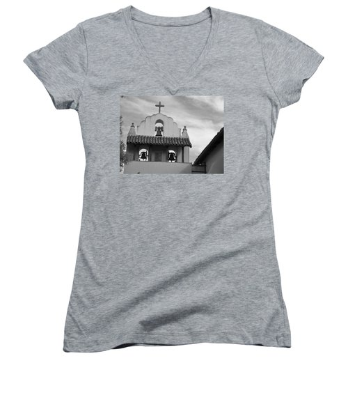 Santa Ines Mission Bell Tower Women's V-Neck T-Shirt