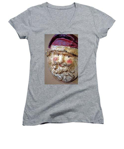 Women's V-Neck T-Shirt (Junior Cut) featuring the photograph Santa by Lynn Sprowl
