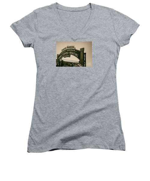 Santa Monica Pier Sign Women's V-Neck T-Shirt (Junior Cut) by David Millenheft