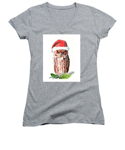 Santa Owl Women's V-Neck T-Shirt (Junior Cut) by LeAnne Sowa