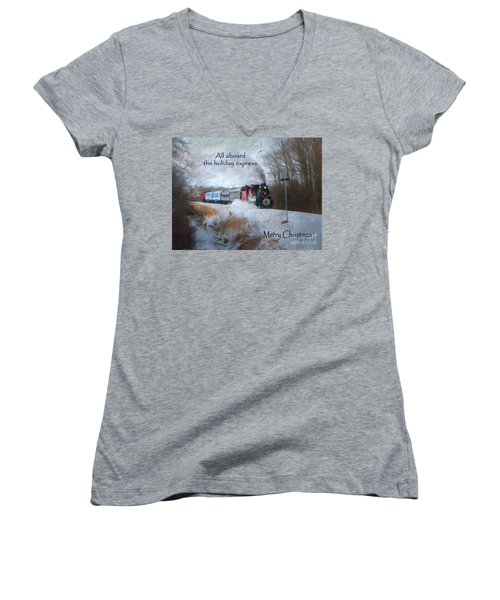 Women's V-Neck T-Shirt (Junior Cut) featuring the digital art Santa Train - Waterloo Central Railway by Lianne Schneider