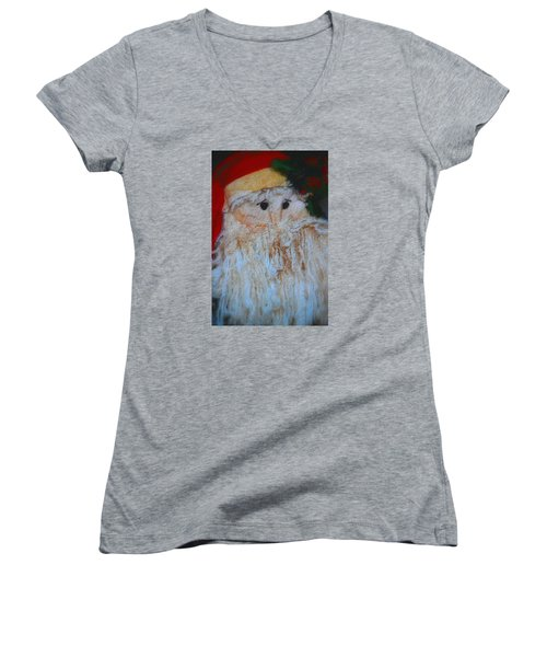Santa With Button Eyes Women's V-Neck T-Shirt (Junior Cut) by Nadalyn Larsen
