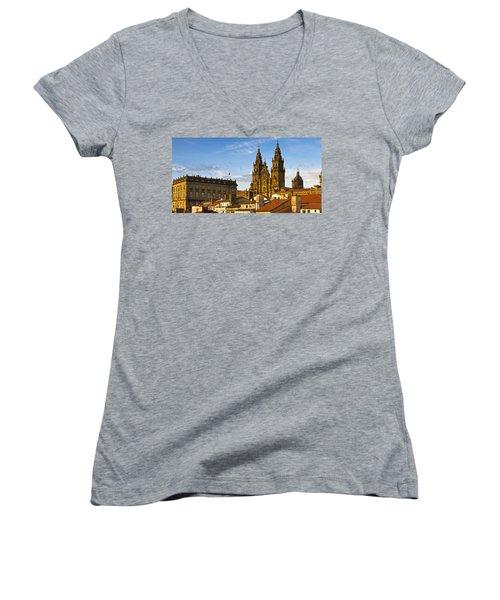 Women's V-Neck T-Shirt (Junior Cut) featuring the photograph Santiago De Compostela Cathedral Galicia Spain by Pablo Avanzini
