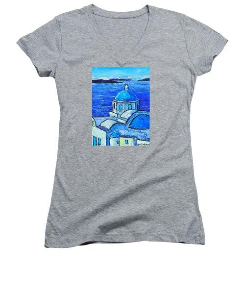 Santorini  Blue Women's V-Neck T-Shirt