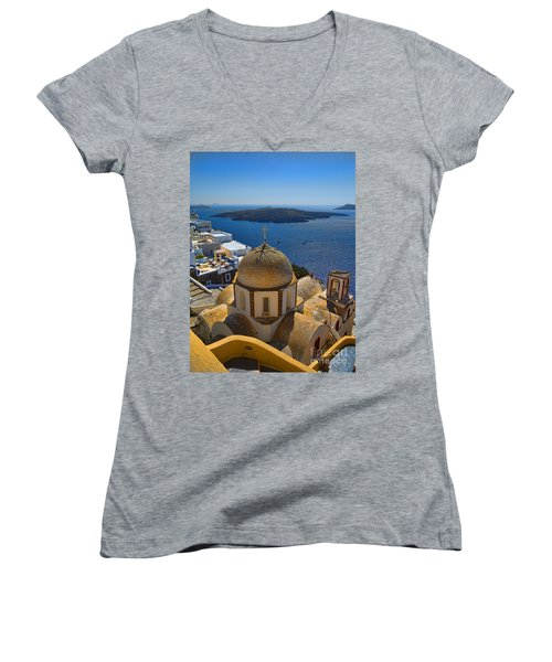 Santorini Caldera With Church And Thira Village Women's V-Neck (Athletic Fit)